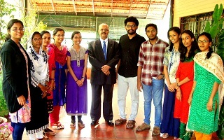 Dr. Muhammed Majeed interacts with the students of Trivandrum Pharmacy College at Sami Labs Peenya office